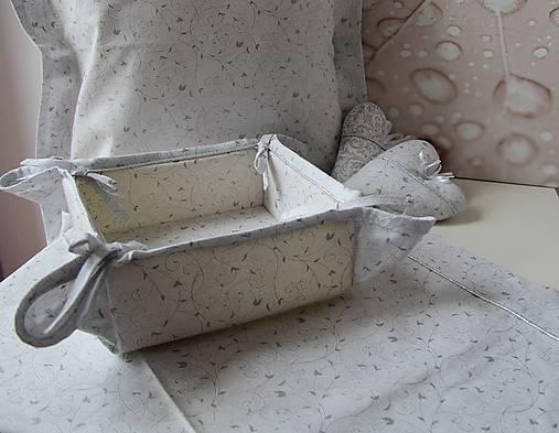 košík na pečivo - snehovo biela - strieborný vzor