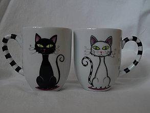 Nádoby - Sada hrnčekov -  Black and White Cat - 4585337_