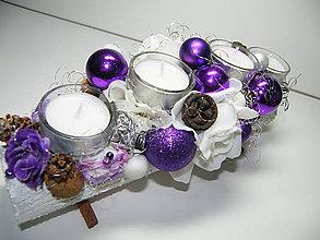 Svietidlá a sviečky - Adventný svietnik_Fialové Vianoce I... - 4590778_