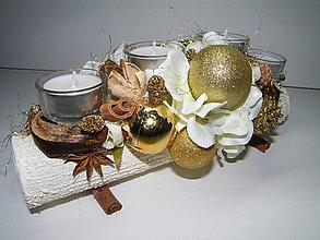 Svietidlá a sviečky - Adventný svietnik_Zlaté Vianoce ... - 4590859_