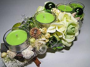 Svietidlá a sviečky - Adventný svietnik_Zelené Vianoce ... - 4590890_