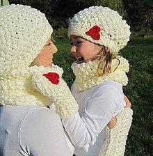 Detské čiapky - maslová osrdiečkovaná - 4590326_
