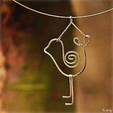 Náhrdelníky - Prívesok z nerezovej ocele - Vtáčik - 4588989_