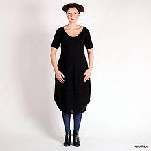 Šaty - černé šaty ROMKY jemně pletené - 4591343_