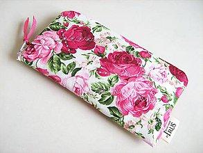 Na mobil - Růžičkový - větší vyšívaný obal na mobilní telefon - 4587043_