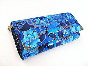 Peňaženky - Luxusní modré čičiny - velká na spoustu karet - 4587389_
