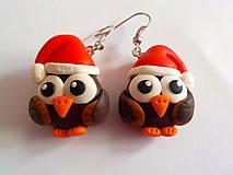 Náušnice - vianočné sovičky - 4590538_