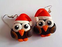 Náušnice - vianočné sovičky - 4590540_