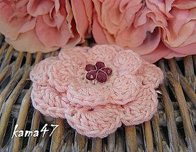 Ozdoby do vlasov - Sponka... ružový kvet - 4593071_