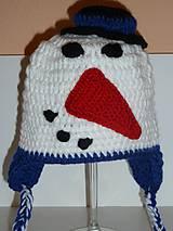Detské čiapky - Snehuliačik v modrom.. ;-) - 4591882_