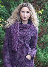 Kabáty - Černofuchsiový teplý kardigan - 4598221_