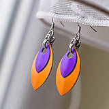 Náušnice - Náušnice Double - orange and purple - 4604412_