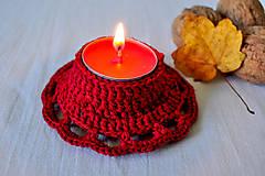 Háčkovaný svietnik na čajovú sviečku