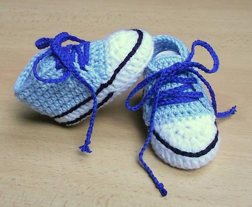 Háčkované tenisky modré   dominikita - SAShE.sk - Handmade Topánočky 2c9fd30422