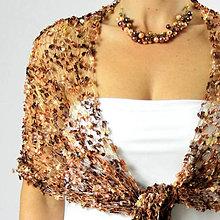 Šály - Jemný skořicový | čipkovaný pletený šál / pléd - 4608143_