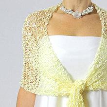 Šály - Medové líbánky | svadobný pletený šál - 4608155_