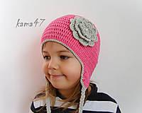 Detské čiapky - Prechodná... kvet s perličkou - 4611062_
