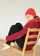 Čiapky - Pletená čiapka- červeno- oranž - 4611752_