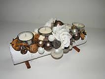 Svietidlá a sviečky - Adventný svietnik_Hnedé Vianoce ... - 4614791_