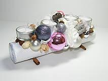 Svietidlá a sviečky - Adventný svietnik_Šedoružové Vianoce... - 4614797_