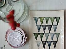 Nádoby - miska s modrými trojuholníkmi - 4613616_