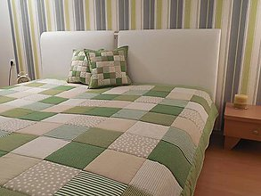Úžitkový textil - prehoz na posteľ patchwork deka 140x200 alebo 220x220 olivovo zelena s béžovou - 4614293_
