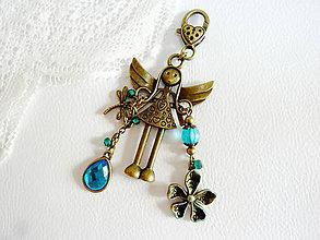 Kľúčenky - Anjelik pre šťastie na kabelku, kľúče... - 4611685_
