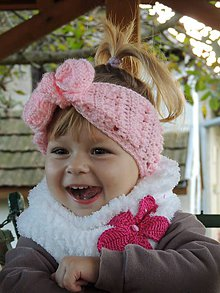 Detské čiapky - Ružová čelenka - 4610357_