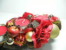 Svietidlá a sviečky - Adventný svietnik_Červenozlaté Vianoce ... - 4618998_