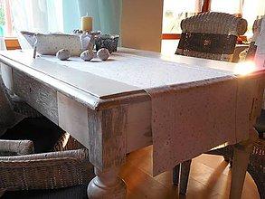 Úžitkový textil - štóla na stôl 40x140 cm snehovo -biela so strieborným vzorom - 4617337_