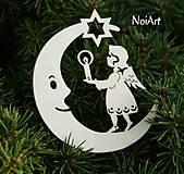 Vianoce - Mesiac s anielom so stromčekom - 4616930_