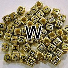 Korálky - Písmenká kocka 6mm-zlatá-1ks - 4618829_