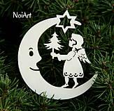 Vianoce - Mesiac s anielom so stromčekom - 4622411_
