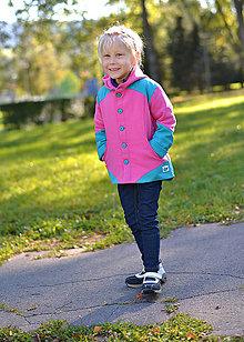 Detské oblečenie - Detská polo softshellová bunda růžovo-tyrkysová - 4624398_