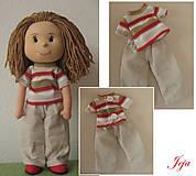- Bledé nohavice a prúžkované tričko - 4622641_