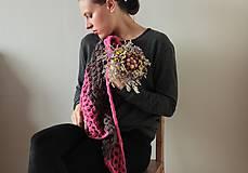 Šatky - Háčkovaná šatka- kvety a čokoláda - 4626877_