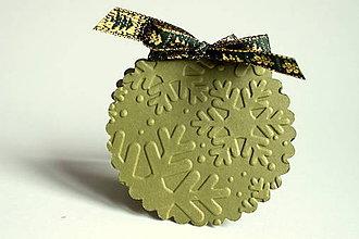 Papiernictvo - Vianočné menovky - olivová - 4624510_