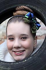 Ozdoby do vlasov - zeleno-modrá - 4627446_