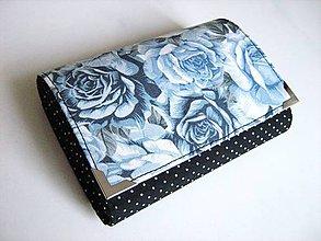 Peňaženky - Malá černá s růžemi - menší peněženka i na karty - 4628681_