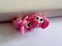 Náušnice - ružové sloníky - 4629091_