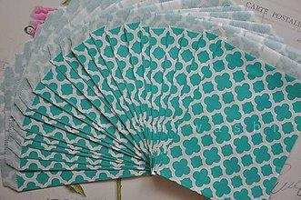 Obalový materiál - papierovy sacok studena zelena kvet - 4631111_