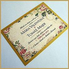 Papiernictvo - Svadobné oznámenie ~Vintage Gold~ - 4633816_