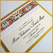 Papiernictvo - Svadobné oznámenie ~Folklor Gold~ - 4633982_