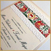 Papiernictvo - Svadobné oznámenie ~Folklor Silver Kocka~ - 4634728_