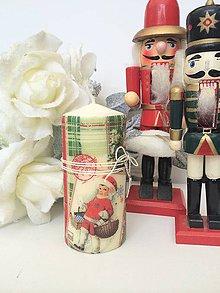 Svietidlá a sviečky - Vintage vianočná sviečka - 4629710_