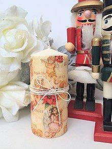 Svietidlá a sviečky - Vintage vianočná sviečka - 4629714_