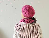 Čiapky - Háčkovaná čiapka- ružová, kvety  - 4636941_