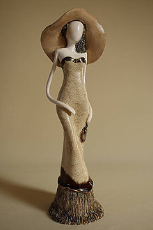 Socha - Dáma v béžovom z porcelánu - 4635016_