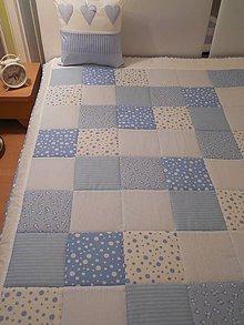 Úžitkový textil - prehoz na posteľ patchwork deka 140x200 alebo 220x220 snehovo biela - bledo modrá - 4643654_