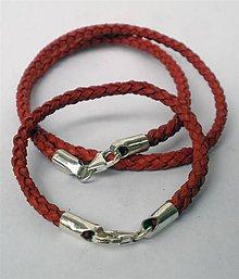Sady šperkov - červená koža v striebre - set - 4640928_